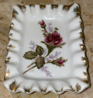 "Vintage Japan Gold Ruffled Edge Floral Trinket Vanity Tray  Dish 4x 2.5"""