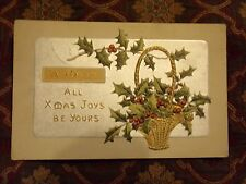Vintage Postcard A Wish All Xmas Joys Be Yours, Basket Of Holly