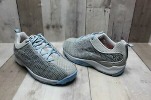 Pearl iZumi 5053 Gray Blue Mesh Cycling Sneakers Lace Up Clips - US Women's 7