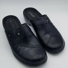Women's Clarks Black Leather Slip On Clog Comfort Shoe Size 6.5