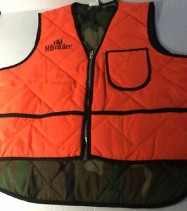 Old Milwaukee Beer Reversible Hunting Sz Large Vest,Old School Camo/Orange