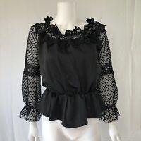 Style Mafia Women Black Lace Crochet Puff Sleeve Off Shoulder Blouse Top Sz S/M
