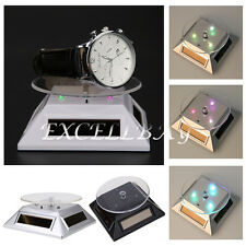 Solar 360 Turntable Rotating Jewelry Watch Phone Ring Display Stand /w LED light