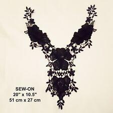 PU Leather Black Flower Embroidered Neckline Neck Collar Punk Dress Applique