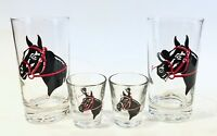 Vintage Horse Racing Derby Hat Horse Drinking Barware Glasses Set of 4