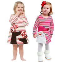 NEW Toddler Kid Baby Girl Deer Striped Princess Dress Loose Tops Outfits Clothes