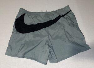 Vintage Nike Big Check Logo Swoosh Swim Trunks Board Shorts White Tag 90s Large