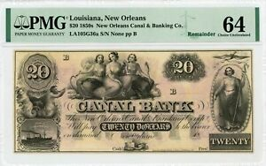 1800's $20 The Canal Bank - New Orleans, LOUISIANA Note PMG Ch.CU 64