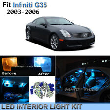 11pc Bright Ice Blue Interior LED Light Package Kit For 03-06 Infiniti G35 Sedan