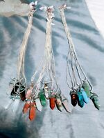 925 Sterling Silver pendulum Crystal natural Stone Necklace 28in scrying chakra!
