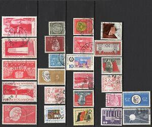 Lot 25 timbres oblitérés et neufs DDR RDA 1950 à 1973 à trier