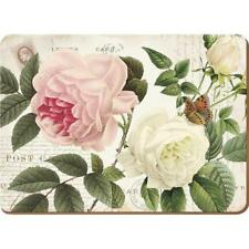 4er Set Tischsets, Platzsets ROSE GARDEN Kork 40x29cm weiß rosa Creative Tops