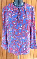 Diane Von Furstenberg Womans Size 4 small Abstract Print 100% Silk Tunic Blouse