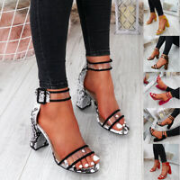 WOMENS LADIES ANKLE STRAP PEEP TOE HIGH BLOCK HEEL SANDALS FASHION SHOES