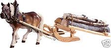 1 Zugpferd mit Holzschlitten 40 cm Hammerpreis coloriert