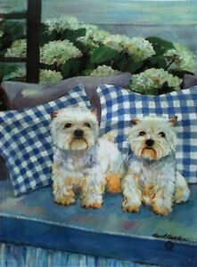 """Angus and Amanda Pups Garden Flag by Toland #1000 11"""" x 14"""" Yorkie"""
