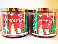 Bath Body Works HOLIDAY 3-wick Candles NEW x 2