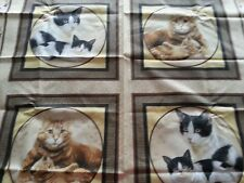 "CAT FAMILY by V.I.P. Cranston Print Works - 4 panels of Cats - 16"" square each"