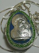 Box Egg Vintage Russian 960 Sterling Silver+Chain Kazanskay Mother of God Enamel