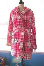 BETSEY JOHNSON SUPER PLUSH HOODED ROBE RED PLAID M/L NWT