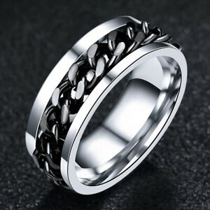 Black Chain Ring Stainless Steel Rings Hip Hop Jewelry for Mens Womens Size 8