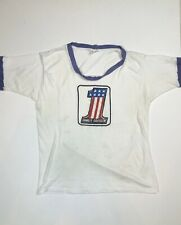 VINTAGE 70s HARLEY DAVIDSON EVEL KNIEVEL #1 WHITE RINGER T-SHIRT MEN SZ XL