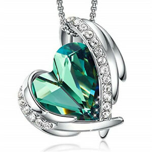 Elegant And Unique Silver Wings Heart-Shaped Green Zircon Pendant Necklace Gift