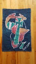 "Batik Signed Samson African Continent Stylized Fabric Panel 15"" x 22"""
