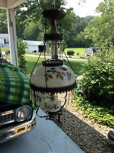 ANTIQUE HANGING OIL LAMP Hand PAINTED GLASS SHADE 45 PRISMS Butterflies Flowers