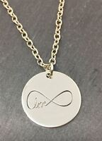 *UK* 925 SILVER PLT 'LOVE' ENGRAVED NECKLACE INFINITY FOREVER GIRLFRIEND WIFE