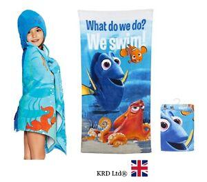 Disney FINDING DORY Kids BATH TOWEL poncho hood Summer Swimming Beach  Nemo uk