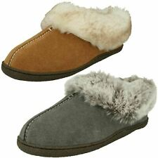 LADIES CLARKS FUR LINED SLIPPERS HOME BLISS