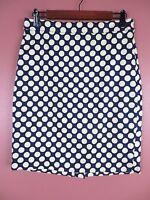 SK10880- J. CREW Woman Cotton Pencil Skirt Navy Blue Pale Yellow Polka Dots Sz 4