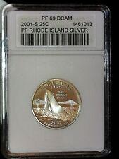 2001-S 25 C Silver Quarter Rhode Island ANACS PF 69 DCAM