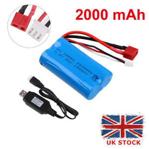 2000mAh 7.4V 2S Lipo Battery 20C T Plug Connector with USB Charger for RC Car UK
