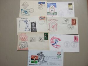 Seven OLYMPIC GAMES fdc with single stamp