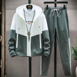 Mens Oversized Tracksuit 2 Piece Casual Pants Hoodie Sweatsuit Sweatshirt Set