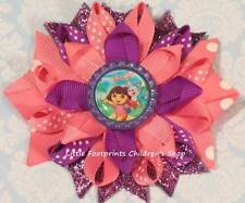 Dora the Explorer Pink Purple Bottle Cap Loopy Hair Bow 4""