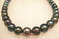 """AAAAA 18""""10-11mm round Natural REAL south sea black pearl necklace 14K GOLD"""