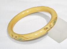 Vintage Celluloid Bracelet Bangle Art Deco carved painted floral design