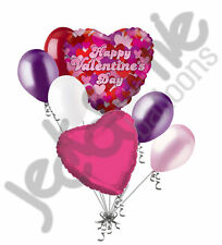 7pc Colorful Collage Heart Valentines Day Balloon Bouquet Mine Hug Kiss Love You