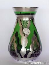 ITALIAN NELLO GIGLI SILVER OVERLAY ON DEEP GREEN GLASS VASE ca1950's STICKER