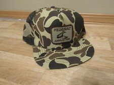 Vintage Federal Ammunition ammo Hat Snapback Camo camouflage 80s USA