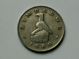 Zimbabwe 1980 (Africa) 50 CENTS Coin with Radiant Sun & Pre-Hyperinflation Issue