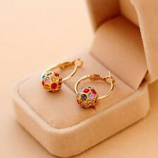 Charm Women Lady Gold Crystal Rhinestone Ear Stud Dangle Drop Hoop Earring