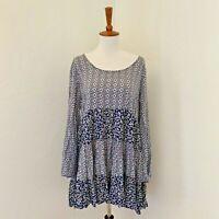 Umgee Womens Size Small Blue Long sleeve Boho Hippie Floral A-Line Short Dress