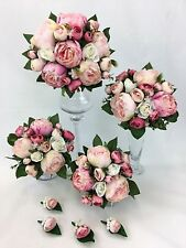 Artificial Flower Hand-tied Pink Peony/White Rose Flowers Wedding Bouquet Set