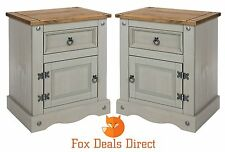 Bedside Cabinet Corona 1 Door 1 Drawer PAIR Of Grey Washed Pine Bedroom Tables