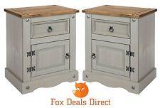 Bedside Cabinet Corona 1 Door 1 Drawer Pair of Grey Washed Pine Bedroom Tables