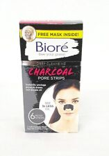 Biore Deep Cleansing Charcoal Pore Nose Strips 6 ct + Free Self Heating Mask